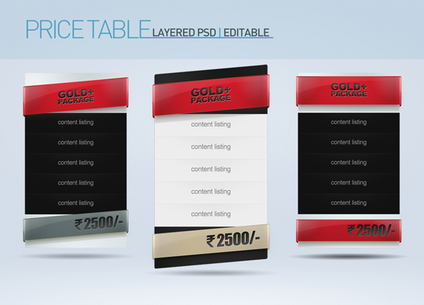 Pricing Tables Download this PSD file for free, you found it on www.redashes.com