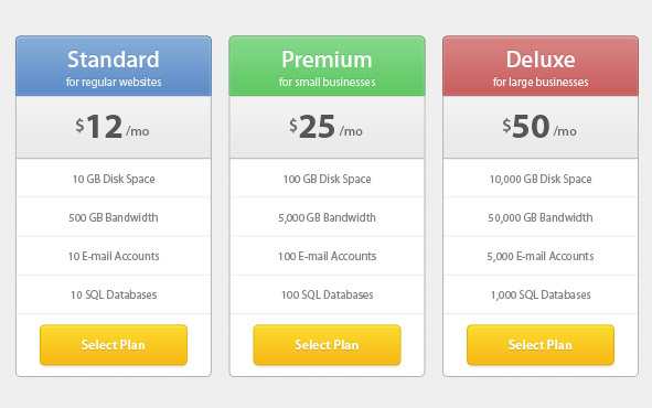 Pricing Tables, featured, pricing, tables, download now