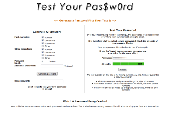Test Your Password directly with this website.