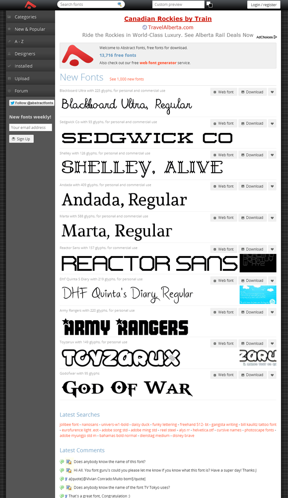 Visit www.redashes.com for fonts to download absolutely free!